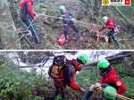 Il Soccorso alpino salva un cane in un torrente