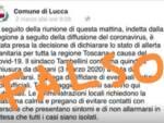 falsa notizia Comune di Lucca coronavirus denuncia procurato allarme