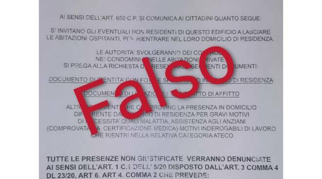 messaggio fake polizia stato ministero appartamenti