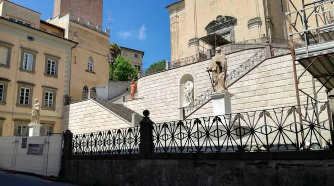 Lavori di restauro alla Scala del santissimo a San Miniato