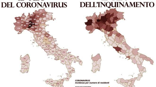 Mappa inquinamento e coronavirus