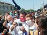 Matteo Salvini e Susanna Ceccardi al Poteco di Santa Croce sull'Arno il 23 giugno 2020
