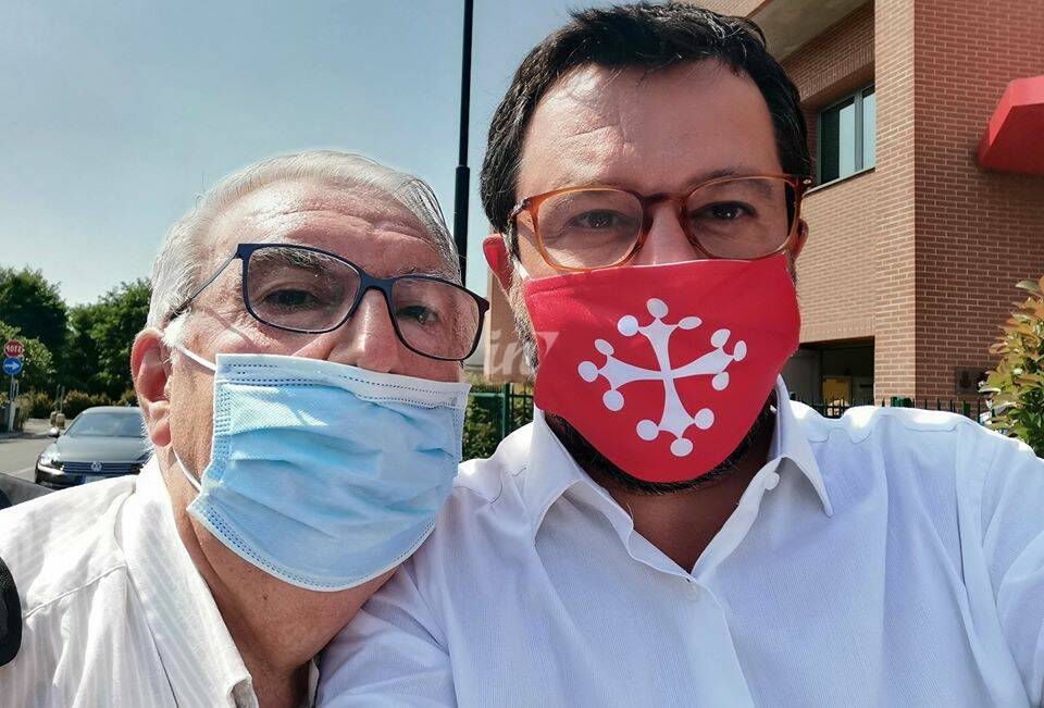 Matteo Salvini e Susanna Ceccardi al Poteco di Santa Croce sull'arno il 23 giungo 2020