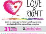 Love is right volantino manifestazione Lucca