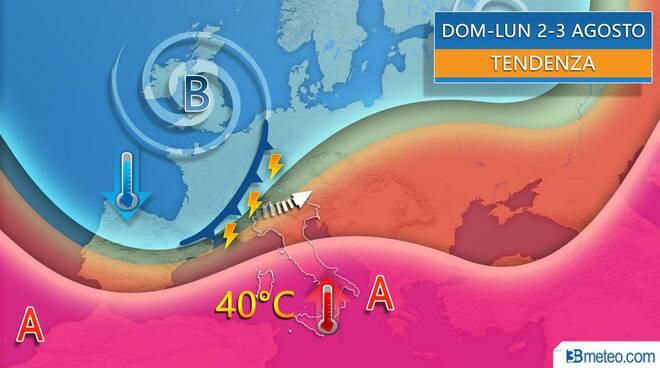 ondata di caldo africano Italia fine luglio 2020