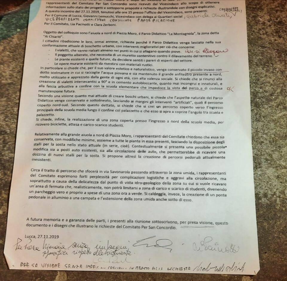 progetto piazza Aldo Moro e documento comitato San Concordio
