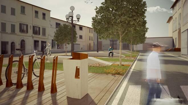 rendering della futura piazza Amendola e le immagini dei lavori in via Checchi e via Pacini fucecchio