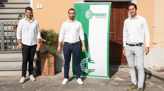Confesercenti Toscana Nord, Giacomo Lazzeri con Simone Romoli e Claudio Del Sarto