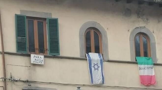 Striscioni fascisti Bagni di Lucca