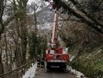 Maltempo e neve intervento vigili del fuoco a Bagni di Lucca