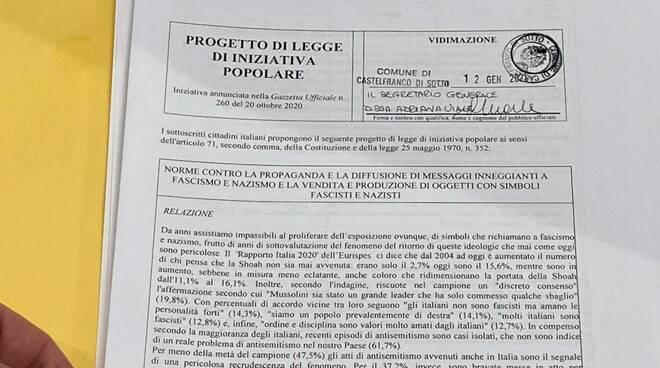 Proposta di legge contro nazismo e fascismo firma Gabriele Toti