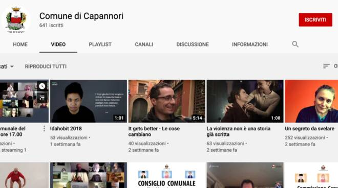 video Comune Capannori Lgbt canale Youtube