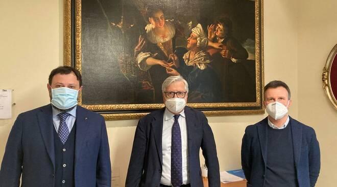 incontro Vittorio Fantozzi Marco Martinelli Fondazione Cassa di Risparmio di Lucca Marcello Bertocchini
