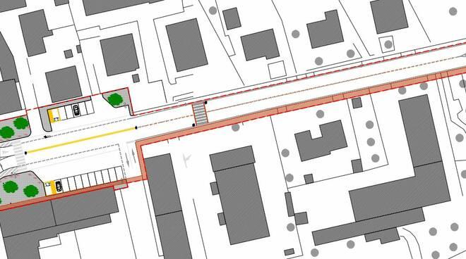 rotatoria sull'incrocio fra la Sp 5 Francesca Nord e Viale Europa Viale 2 Giugno a castelfranco di sotto