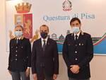 il questore Gaetano Bonaccorso con il commissario capo Giovanni D'Allestro e ilcommissario Elena Tassi.
