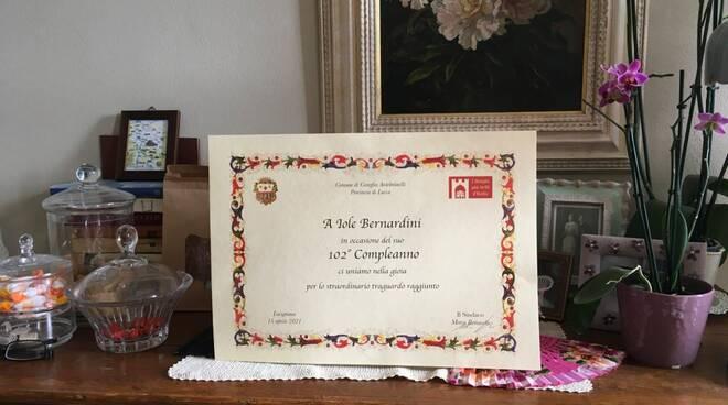 Iole Bernardini compie 102 anni Coreglia