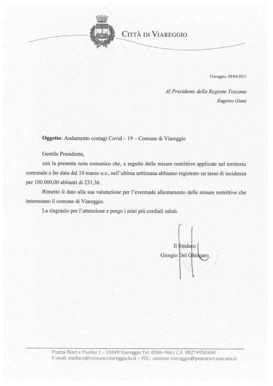 lettera gdg a Giani