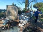 rogo fuoco e fumo fra le case via del Gambero Santa Croce sull'Arno