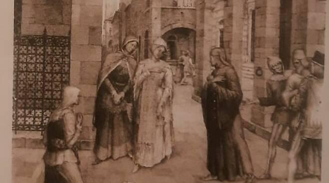 Acquerello incontro tra Dante e Gentucca
