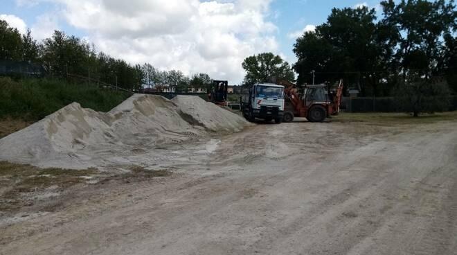 buca palio Fucecchio lavori in corso livellamento pista