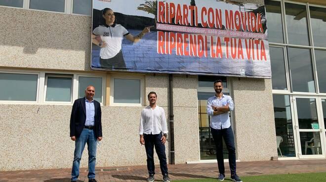 Gabriele Toti e Federico Grossi con Emiliano Vitali del Club Movida