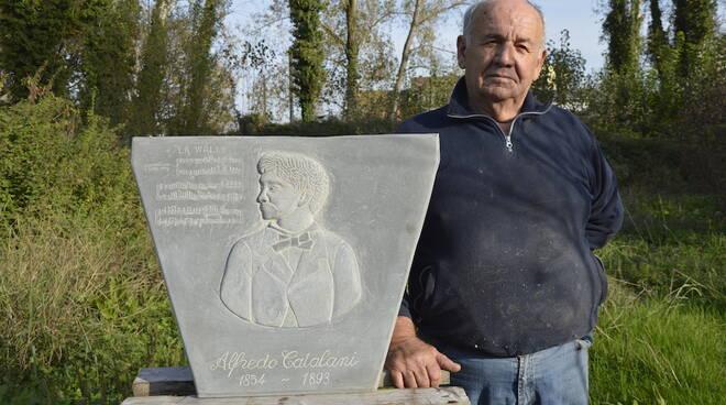 Targa Domenico Poloni pietra di Matraia museo del Castagno