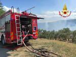vigili del fuoco sterpaglie a fuoco