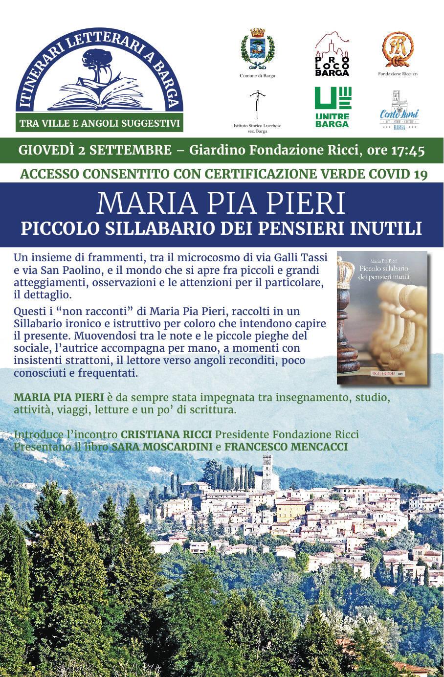 Presentazione libro Piccolo sillabario dei pensieri inutilidi Maria Pia Pieri a Barga