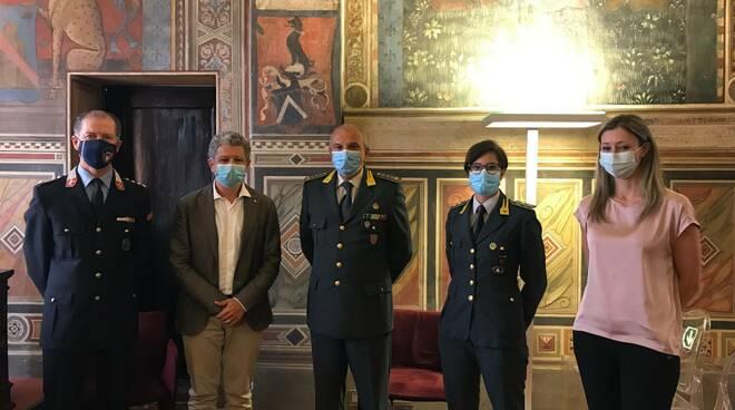 Ricevuti in Comune il colonnello Massimo Benassi e la tenente Rosangela Di Lecce Guardia di Finanza San Miniato