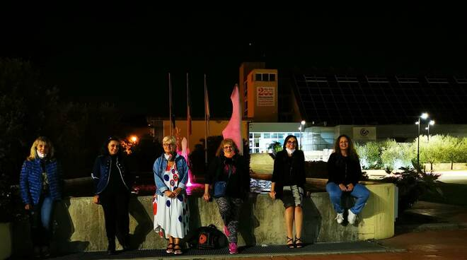 fontana di piazza moro a capannori illuminata di rosa